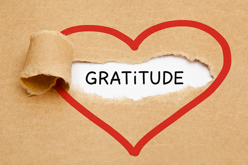 Photo of heart surrounding the word gratitude for the blog post 5 Easy Ways to Practice Gratitude Every Day by Dr. Susan Spicer, founder of Brainwave Technologies