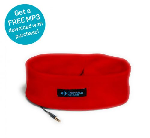 Sleep Headphones in red for comfortably listening to MP3 audio programs, with free MP3 offer