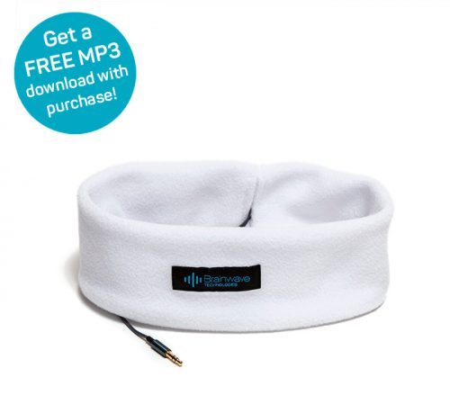 Sleep Headphones in white for comfortably listening to MP3 audio programs, with free MP3 offer