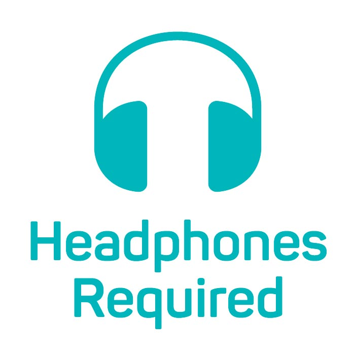 Icon of headphones with the words Headphones Required