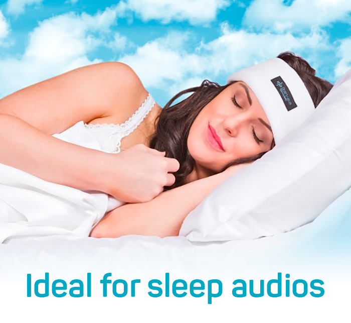 Photo of woman wearing white Sleep Headphones and sleeping