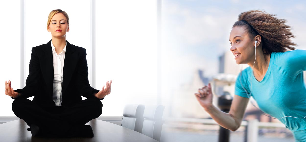 Photo of woman meditating in boardroom and woman running listening to brainwave therapy audio on earbuds